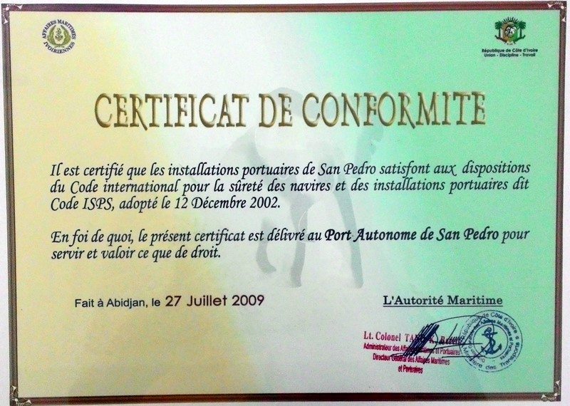 Notre certificat de conformité au code ISPS